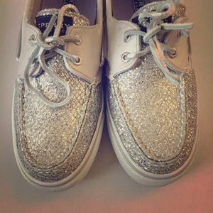 Cute silver glittery Sperry Top-Siders boat shoes